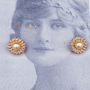 Vintage JOAN RIVERS rhinestone faux pearl earrings